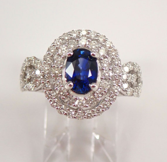 18K White Gold 2.25 ct Diamond and Sapphire Double Halo Engagement Ring Size 7 FREE Sizing