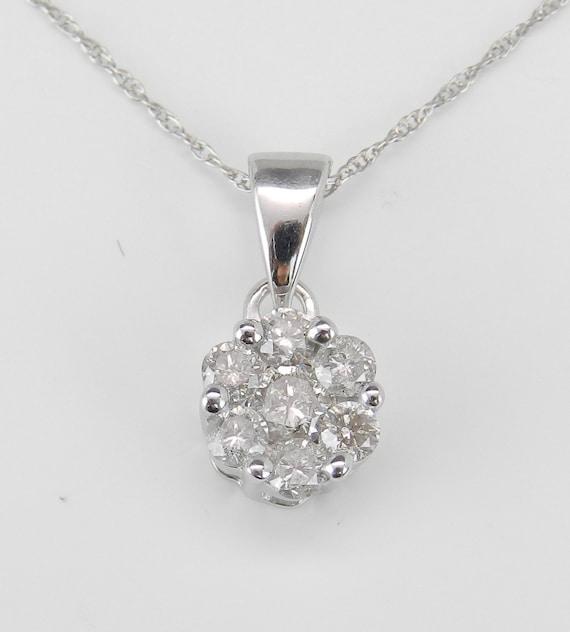 """Diamond Cluster Pendant, White Gold Solitaire Pendant, Diamond Necklace, White Gold 18"""" Chain, Cluster Necklace"""