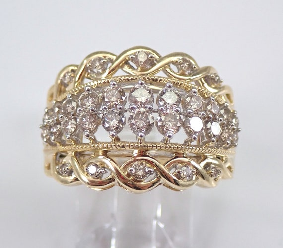 1.00 ct Diamond Wedding Ring Anniversary Band Yellow Gold Size 7 Stackable Look FREE Sizing