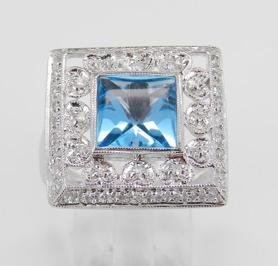 SALE! Diamond and Blue Topaz Ring Square Halo Ring Statement Ring 14K White Gold Princess Cut Gemstone Size 7 FREE Sizing