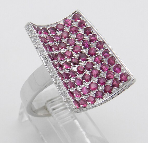 Ruby Ring, Modern Ring, 18K White Gold Ring, Ruby Statement Ring, Diamond and Ruby Ring, Contemporary Design Ring