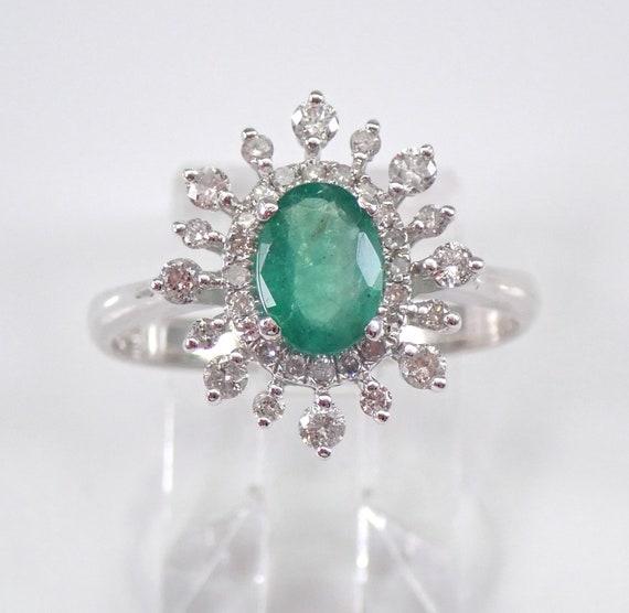 Diamond and Emerald Halo Engagement Ring 14K White Gold Size 7 May Snowflake FREE Sizing