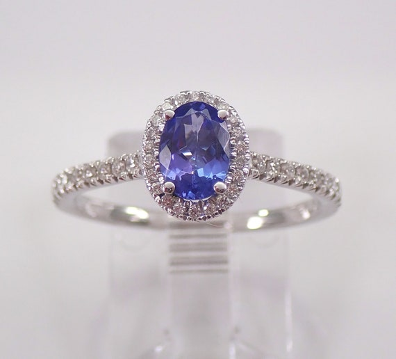 14K White Gold Diamond and Tanzanite Halo Engagement Ring Size 7 December Stone