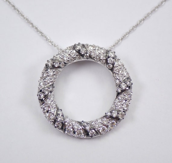 Diamond Necklace Circle of Life Pendant White Gold Modern Wedding Jewelry Gift Chain 18""