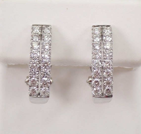 Diamond Half Hoop Earrings 1.00 ct Diamond Hoops 14K White Gold Omega Clasps