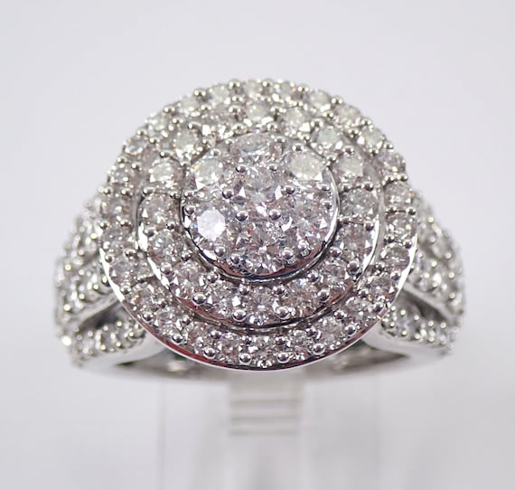 14K White Gold 3.00 ct Diamond Engagement Ring Cluster Cocktail Size 7 FREE Sizing