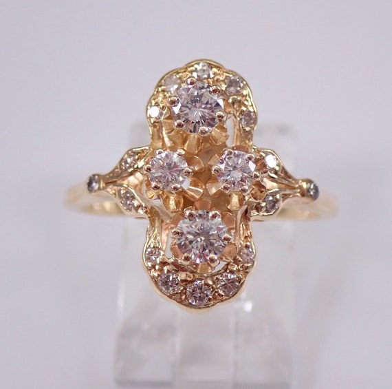 Antique Art Deco Diamond Cluster Ring 14K Yellow Gold Size 8 Circa 1930's F VS
