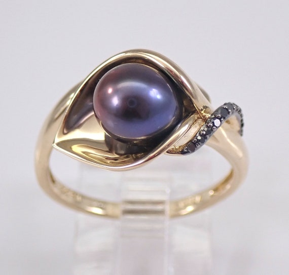 Yellow Gold Black Diamond and Black Freshwater Pearl Calla Lily Ring June Size 7.25