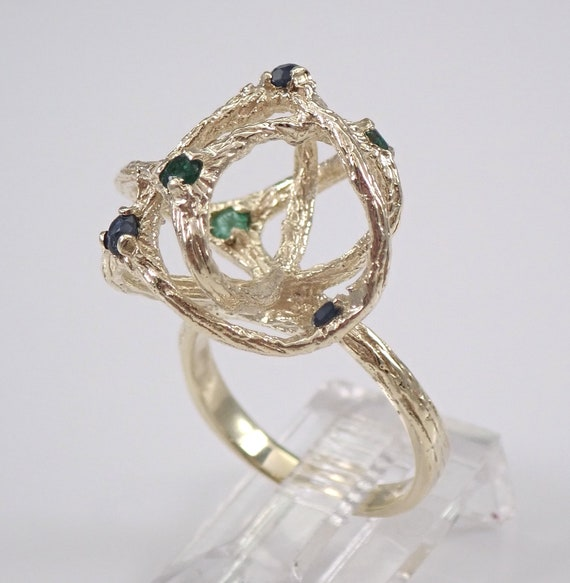 Estate Vintage 14K Yellow Gold Sapphire and Emerald Cocktail Abstract Ring Size 5