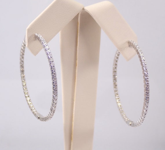 14K White Gold 2.00 ct Diamond Hoop Earrings Diamond Hoops In and Out
