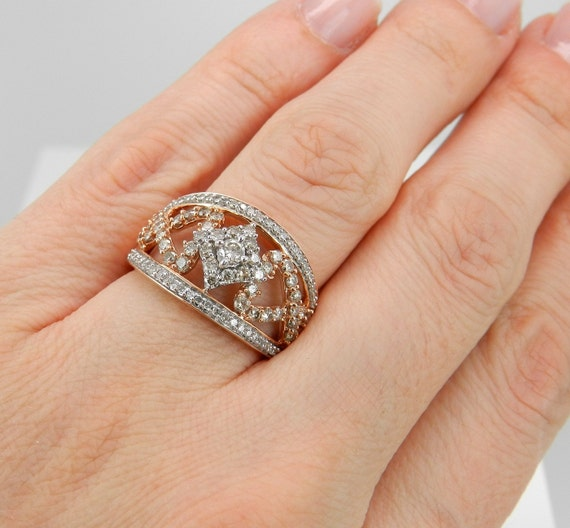 1.00 ct Diamond Cluster Heart Cocktail Ring Statement Band Rose Pink Gold Size 7.25 FREE Sizing