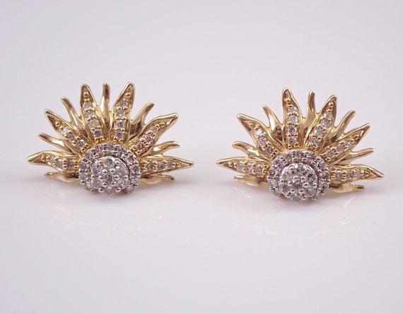 14K Yellow Gold Diamond Stud Earrings Starburst Sun Flower Cluster Studs