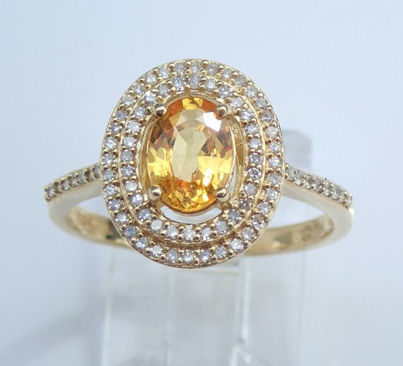 Diamond and Yellow Sapphire Double Halo Engagement Ring Gold Promise Ring Size 7 FREE Sizing