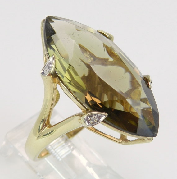 SALE Diamond and 12 ct Marquise Smokey Topaz Ring Estate Vintage Ring 14K Yellow Gold Size 6.75