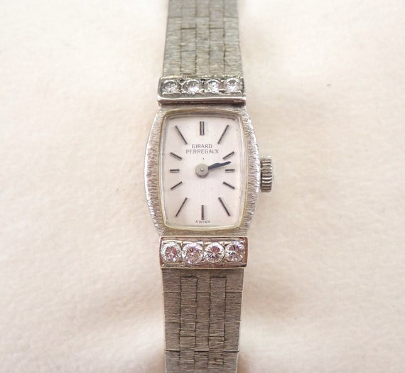 Antique Vintage 14K White Gold Diamond GIRARD PERREGAUX Ladies Bracelet Watch