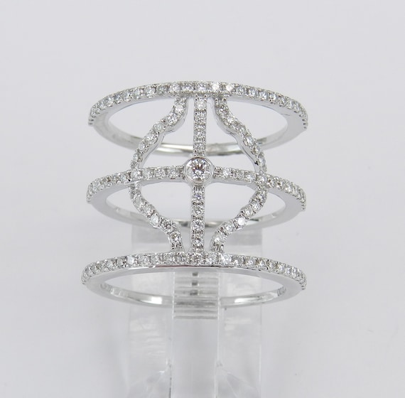 18K White Gold Diamond Modern Design Ring Multi Row Anniversary Band Size 6