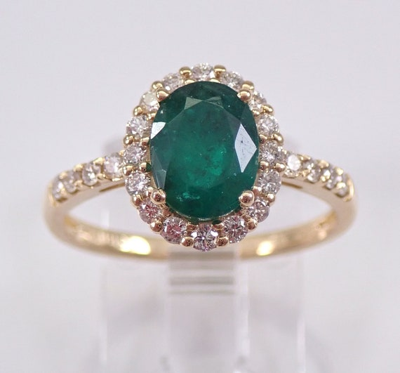 14K Yellow Gold Diamond and Emerald Halo Engagement Ring May Promise Size 6.75 FREE Sizing