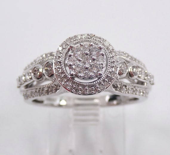 Diamond Anniversary Halo Cluster Cocktail Engagement Ring White Gold Size 7
