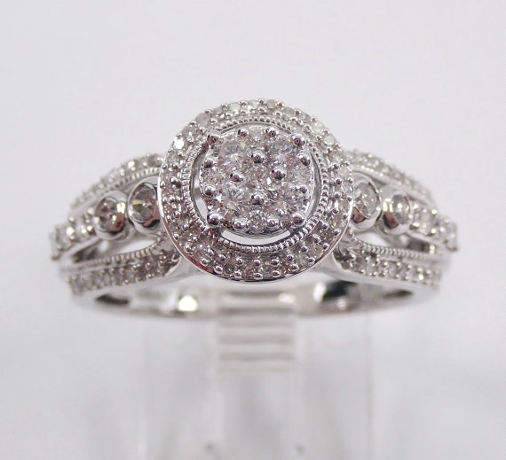 Diamond Anniversary Halo Cluster Cocktail Engagement Ring White Gold Size 7 FREE Sizing