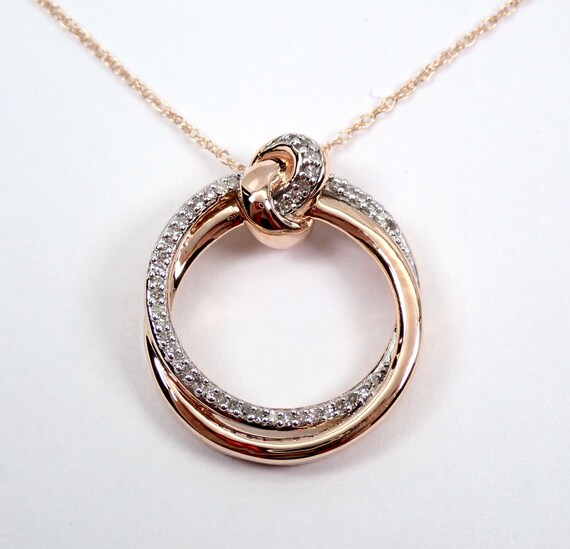 "Diamond Circle Necklace Pendant Rose Gold Wedding Necklace Chain 18"" Modern"