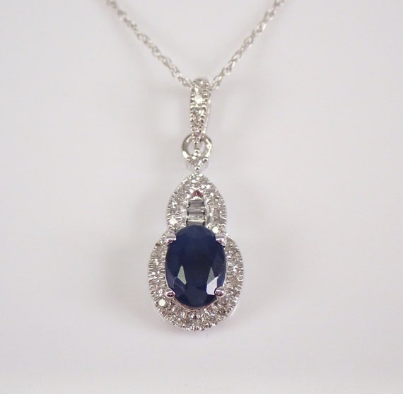 "Sapphire and Diamond Necklace Pendant 14K White Gold 18"" Chain Wedding Gift September Birthstone"