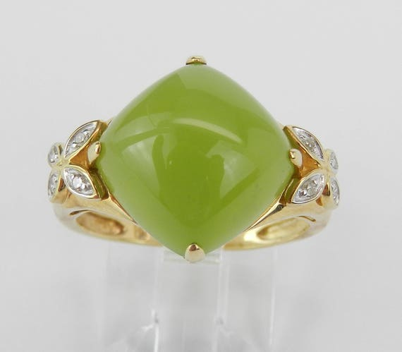 Jade Cabochon and Diamond Cocktail Butterfly Ring Yellow Gold Size 7.25