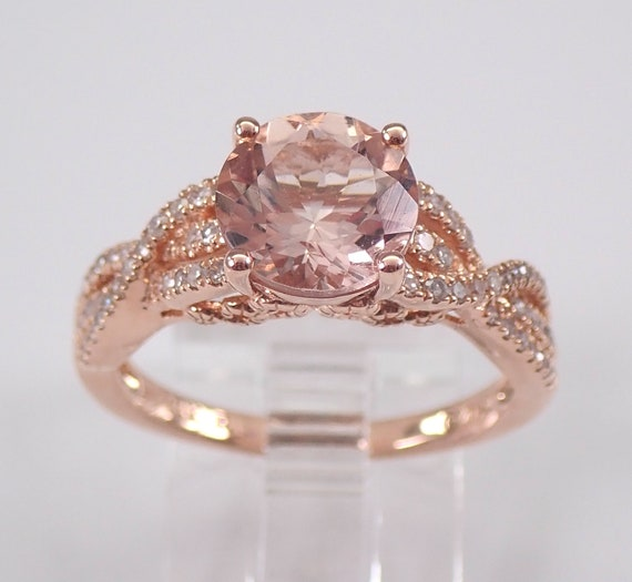 2.35 ct Morganite and Diamond Engagement Ring 14K Rose Gold Size 7 Pink Aqua