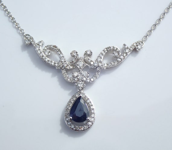 """White Gold 1.60 ct Sapphire and Diamond Lariat Style Necklace 17"""" Chain Pendant"""