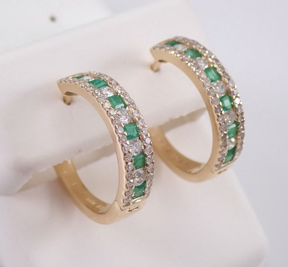 Diamond and Emerald Hoop Earrings Hoops Yellow Gold May Birthstone Graduation