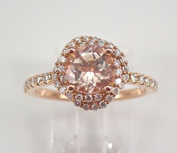 Unique Morganite and Diamond Halo Flower Engagement Ring Rose Gold Size 7 FREE Sizing