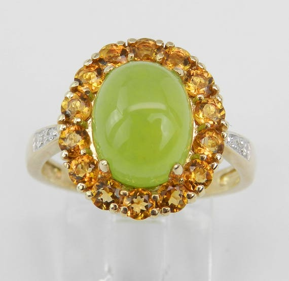 14K Yellow Gold Jade Diamond Citrine Engagement Cocktail Halo Ring Size 6.75