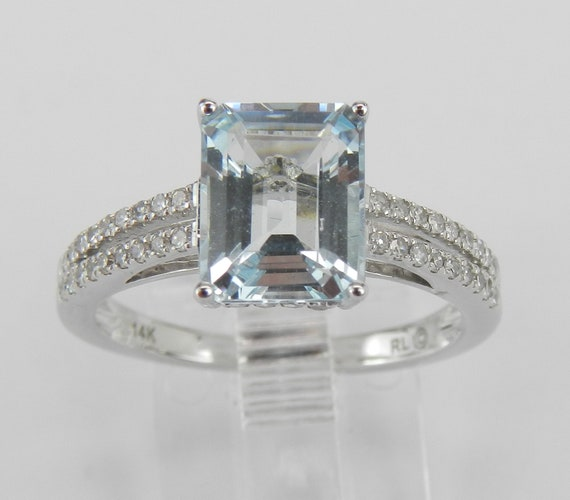 14k White Gold Diamond and Emerald Cut Aquamarine Engagement Aqua Ring Size 7 March