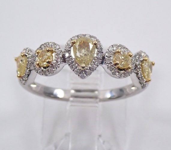Fancy Yellow CANARY Pear and Round Halo Diamond Wedding Ring Anniversary Band 18K Gold Size 6.5
