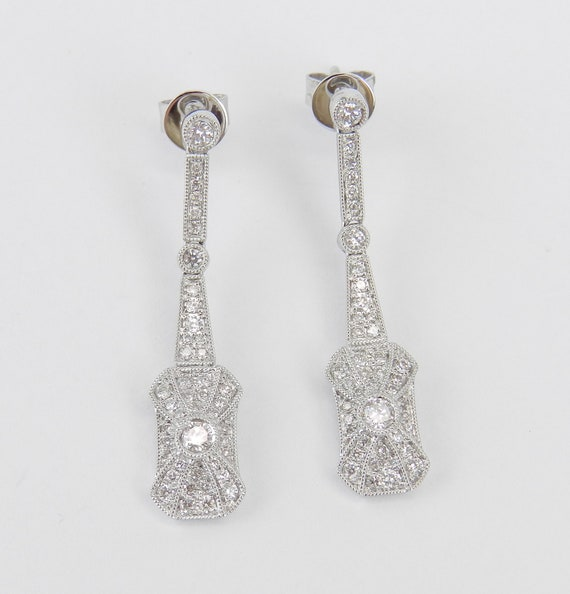 18K White Gold Diamond Dangle Drop Earrings Antique Art Deco Reproduction