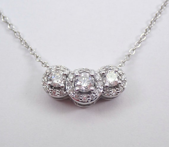 "RESERVED Diamond Three Stone Cluster Pendant 14K White Gold Wedding Necklace Chain 18"" Past Present Future"