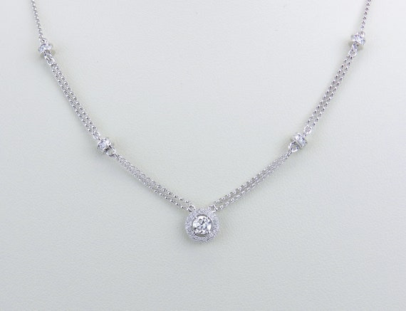 "14K White Gold Diamond Halo Pendant Necklace 16"" Chain Diamond Rondelle Spacers"