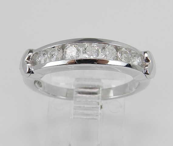 Diamond Wedding Ring, White Gold Anniversary Band, Heart Design, Diamond Stackable Ring, Wedding Band