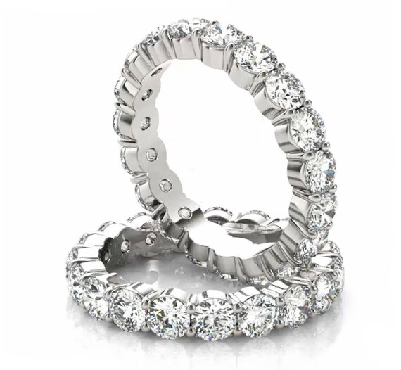 Eternity Wedding Ring, Diamond Wedding Ring, 14k Gold Anniversary Band, Diamond Eternity Ring