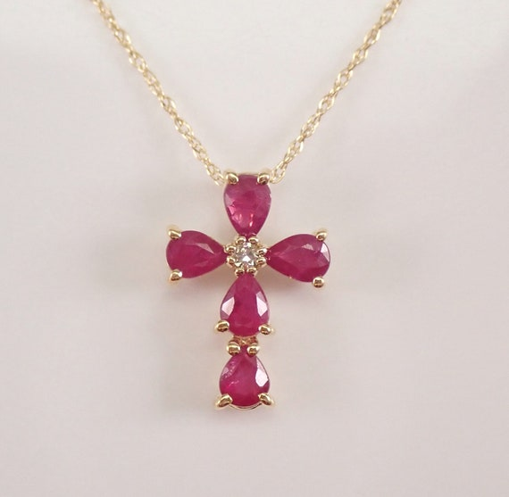 """Diamond and Ruby Cross Pendant Necklace 18"""" Chain Yellow Gold Religious Charm"""