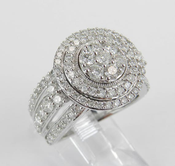 White Gold 2.50 ct Diamond Halo Cluster Engagement Ring Size 7 FREE SIZING