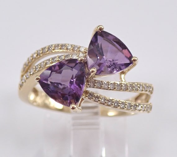 Trillion Amethyst and Diamond Bypass Ring Yellow Gold Size 7 February Birthstone FREE Sizing