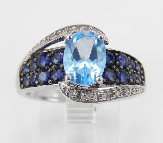 Blue Topaz Engagement Ring, Sapphire and Diamond Ring, 14K White Gold Gemstone Ring, Sapphire Ring, Size 6.75