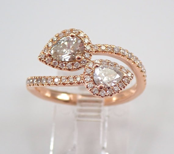 18K Rose Gold Diamond Crossover Bypass Halo Cocktail Right Hand Ring Size 6.5 FREE Sizing