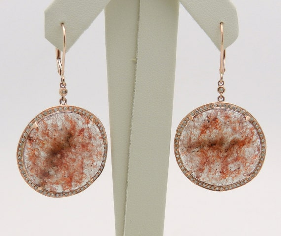 SUPER SALE! 14K Rose Gold 35.75 cttw Citrine Slice and Diamond Halo Dangle Earrings