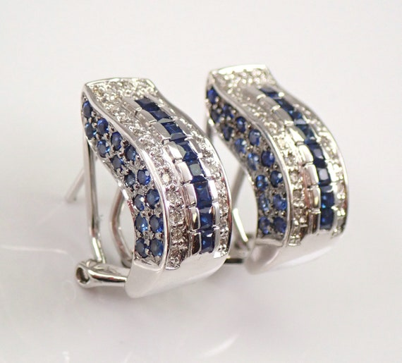 14K White Gold Sapphire and Diamond Cluster Earrings Omega Clasp September Gemstone