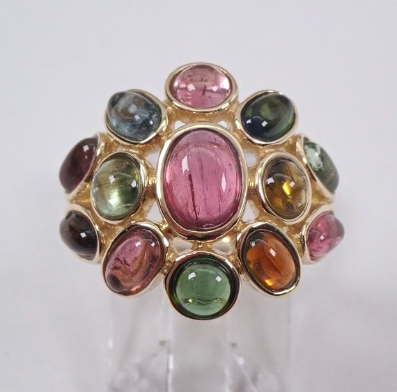 14K Yellow Gold Multi Color Tourmaline Dome Ring Vintage Estate Cluster Size 6
