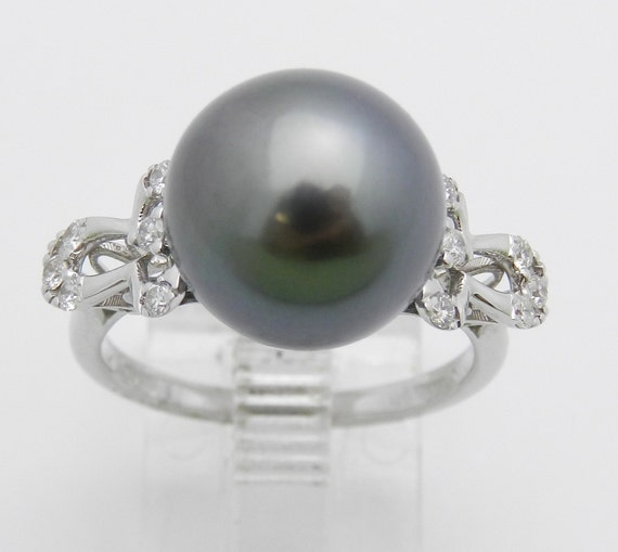 18K White Gold Diamond and Black Pearl Engagement Ring June Birthstone Size 6.5 FREE Sizing