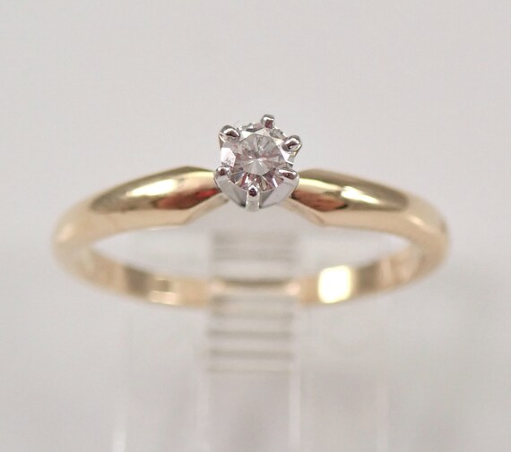 Vintage 14K Yellow Gold SOLITAIRE Round Diamond Engagement Ring Size 7 FREE SIZING
