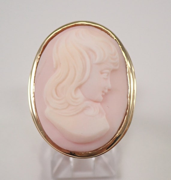 Vintage Antique Coral Cameo Solitaire Ring 14K Yellow Gold Size 6.75  FREE SIZING