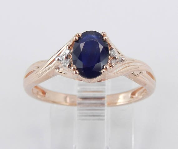 SALE Diamond and Sapphire Engagement Promise Ring Size 7 Rose Gold September Birthstone